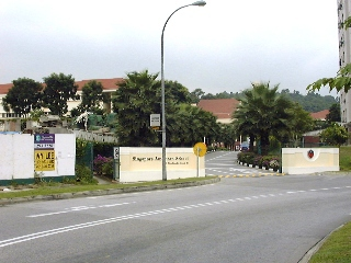 Singapore American School entrance, next to Century Woods house construction.