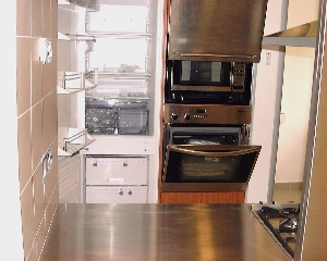 """The Paterson Edge 04-03 """"cool"""" stainless steel oven, microwave,dual basins and counter,"""