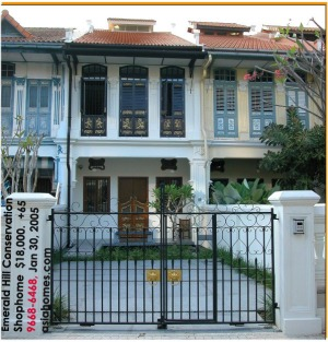 Singapore's premier downtown Emerald Hill Conservation Shophome for rent, $18,000. asiahomes.com