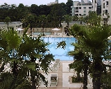 Ardmore Park's pools and sauna viewed from the Clubhouse