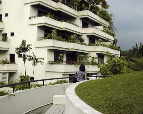 The Arcadia condos facing inwards:Tranquil greenery facing