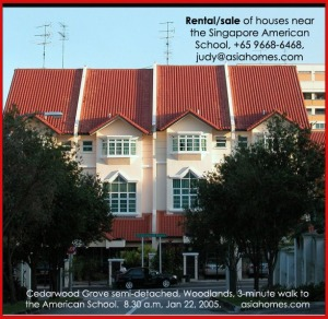 Semi-detached Cedarwood Grove house, 3-min walk to the Singapore American School. asiahomes.com