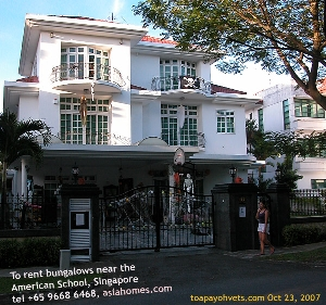 Bungalows near American School, Singapore. Asiahomes.com  +65 9668 6468