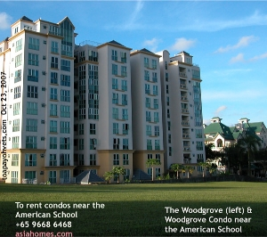The Woodgrove & Woodgrove Condos (right) near American School, Singapore. asiahomes.com +65 9668 6468
